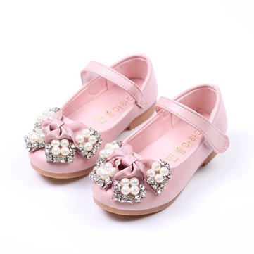 Girls Pearl Bowknot Mary Jane Shoes