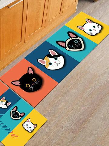 Cartoon Cute Cat Pattern Soft Anti-slip Door Blanket Rug Carpet Kitchen Floor Mat Indoor Outdoor Decor
