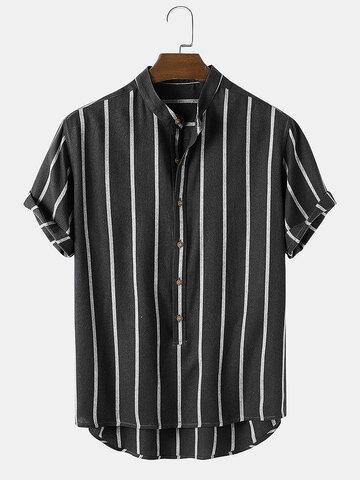 100% Cotton Stripe Casual Henley Shirts