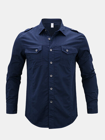 Military Epaulet Design Cotton Shirt