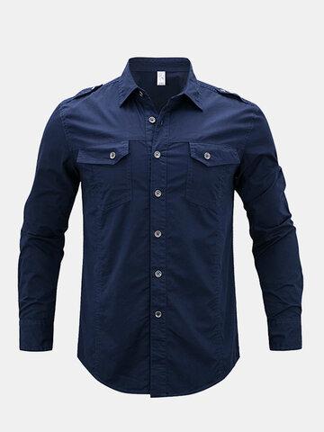 القميص العسكري تصميم القطن كتاف