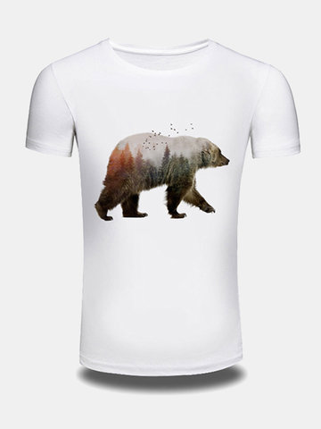 Mens Summer Creative 3D Bear Printed O-neck Short Sleeve Casual T-shirt