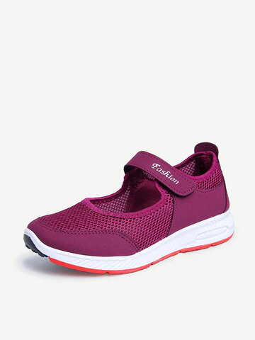 Sports Walking Mesh Hook Loop Shoes