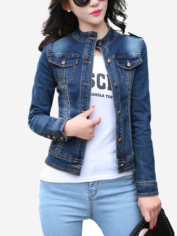 Manga comprida Slim Stand Collar Denim Jacket