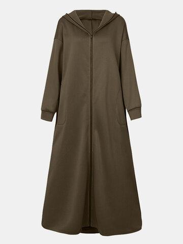 Solid Color Zipper Hooded Coat
