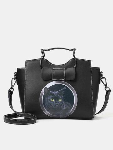 PU Leather Cat Satchel Bag