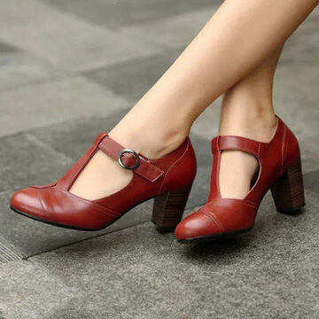Chunky Heel Belt Buckle Single Shoes