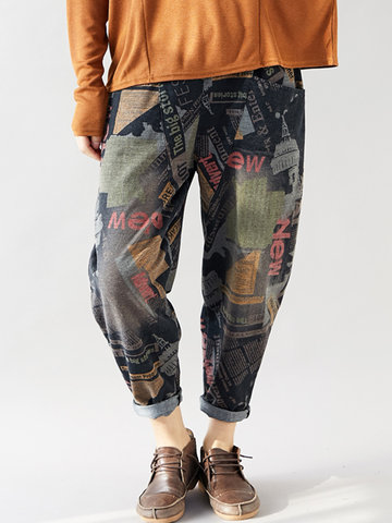 Print Denim Harem Pants
