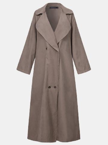 Casual Lapel Button Long Coat