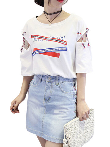 Letters Patchwork Short Sleeve T-shirts, Black white