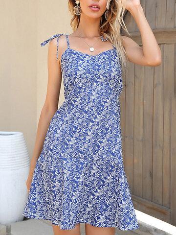 Rückenfrei mit Blumenriemen geknotet Kleid