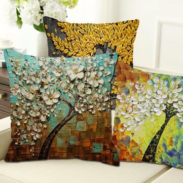 3D Vintage Flower Cotton Linen Pillow Case
