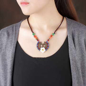 Ethnic Flower Charm Necklace