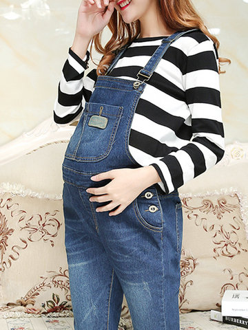Casual Strap Pocket Denim Jumpsuit