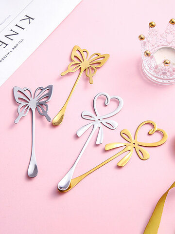 1PC Butterfly Heart Stainless Steel Flatware Long Handle Mixing Spoon Tea Coffee Ice Cream Dessert Spoon Kitchen Tools Kitchen Tableware Tablespoon