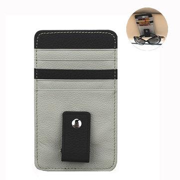 Genuine Leather Car Sun Visor Glasses Clip Multi-functional Card Holder For Men