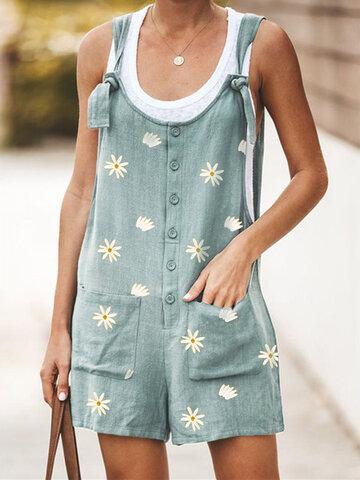 Daisy Print Casual Jumpsuit