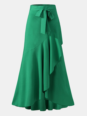 Solid Color Ruffle Asymmetrical Skirt