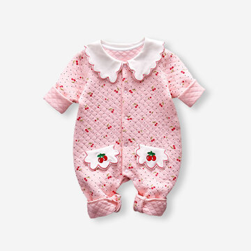 Baby Cherry Print Rompers For 3-18M