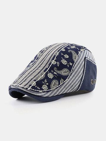 Patchwork Color Personality Casual Visor Beret Hat Flat Caps