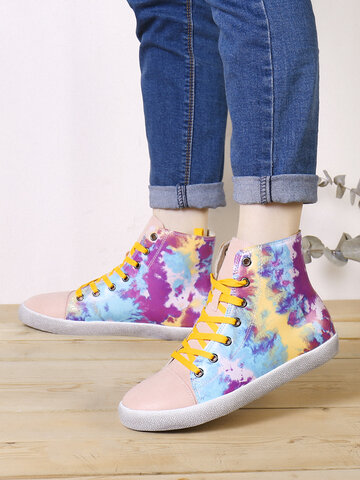 SOCOFY Colorful Tie-dye Printed Casual Sneakers Walking Shoes Skate Shoes
