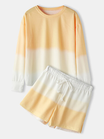 Ombre Long Sleeve Two Pieces Loungewear