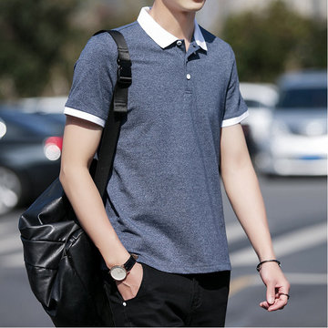 Shirt Male Short-sleeved Lapel Overalls Color-fit Slim Shirt Season Casual Half-sleeve Male Youth