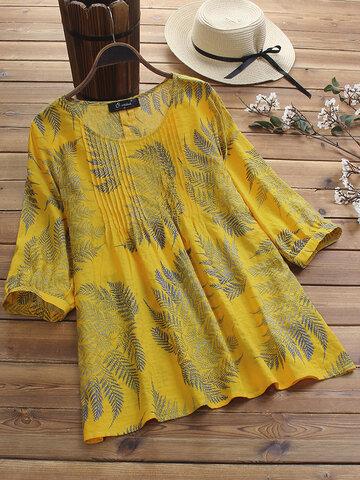 Blusa Estampada Plisada vendimia