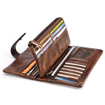 RFID Genuine Leather Casual 18 Card Slot Wallet For Men