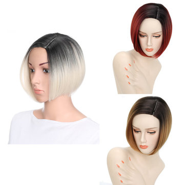 Gradient Color Short Straight Bobo Synthetic Wig, White