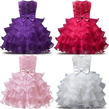 Vestito da principessa a pieghe per ragazze per 4Y-13Y