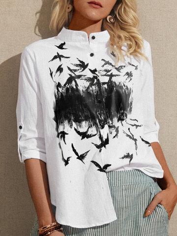 Блузка с длинными рукавами и принтом птиц