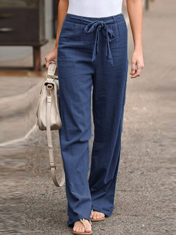 Elastic Waist Bowknot Vintage Pants