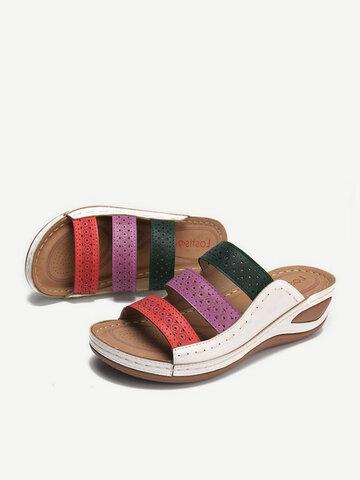 Rainbow Stitching Beach Wedges Sandals