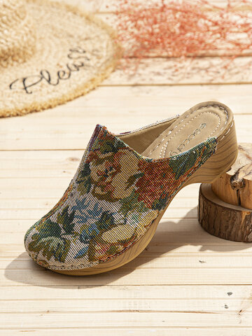 Flower Cloth Pattern Sandals