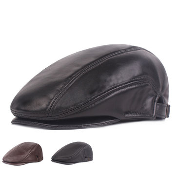 410c4925850bff Men Winter Warm OX Sheep Head Skin Adjustable Leather Hat Casual Vogue Beret  Cap