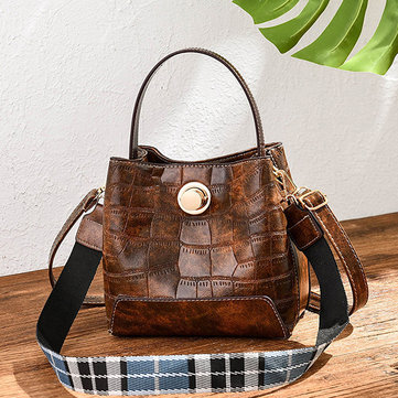 Women Crocodile Pattern Bucket Bag
