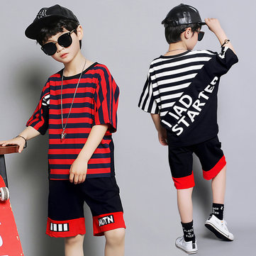 Striped Printed Boy Clothing Short Sleeve Two-piece