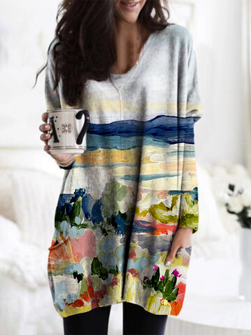 Natural Scenery Print Blouse