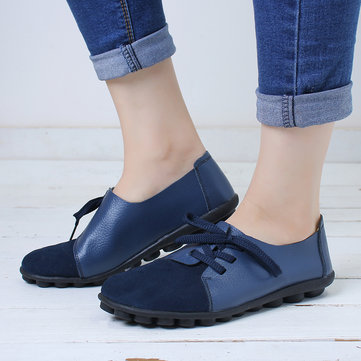newchic / Casual Soft Splicing Leather Flats Shoes