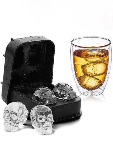 Silicone Skull Shaped Ice Cube Four Silicone Ice Shaped