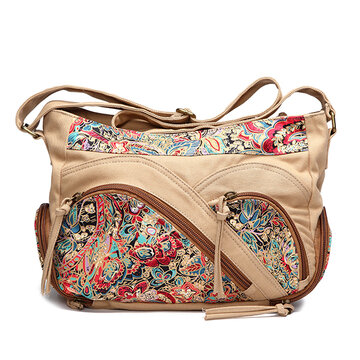 Canvas Tribal Flower Crossbody stampa Borsa