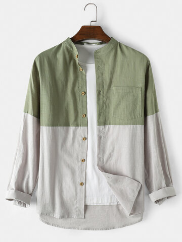 Cotton Patchwork Casual Shirts