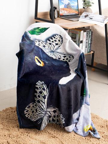Cat And Flower Pattern Blanket Coral Fleece Lunch Break Sofa Blanket Air Conditioning Blanket