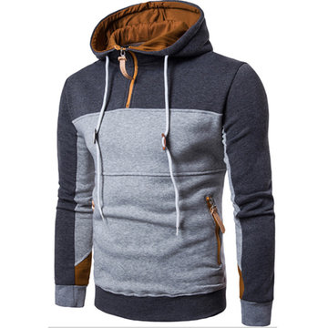 Mens Hoodies Hit Color Front Zipper Fashion Casual Sport Hooded Tops