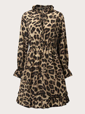 Sexy Leopard Knotted Print Dress
