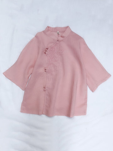 Vintage Embroidered Shirts, White pink