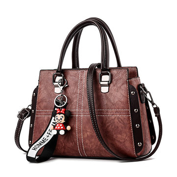 Women Vintage PU Leather Handbag Stitching Crossbody Bag