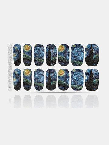 14 Pcs/Set Starry Sky Nail Sticker