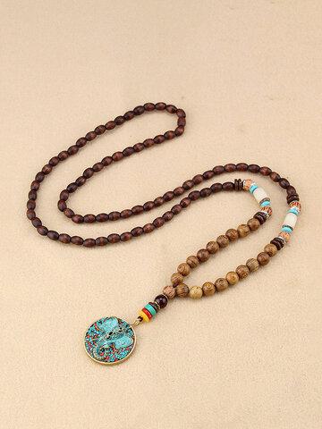 Ethnic Blue Beads Long Style Necklace